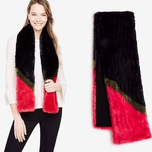 Ann Taylor Colorblock Black Red Faux Fur Scarf Red